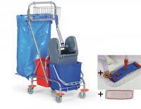 Úklidový set DeLuxe - vozík, mop, Al tyč, 2 návleky